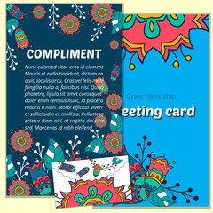 Set greeting vector card on decorated background  mandala element . pattern, brochure, gift certificate, party invitation, congratulation