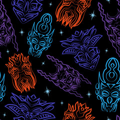 Seamless pattern with totem masks