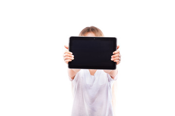 Pretty young girl with black tablet isolated on white