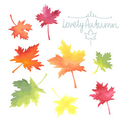 Autumn maple leaves. Watercolor imitation in vector.