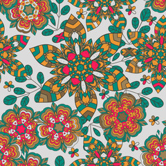 Seamless pattern with doodles elements for design. multicolored flowers, leaves, heart