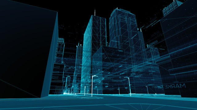 Digital skyscrappers with wireframe texture. Technology and conn