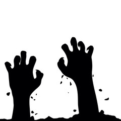 Zombie hand rising out from the ground. Hands on other layer. Ve