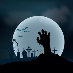 Halloween Background. Zombie hand rising out from the ground, ve