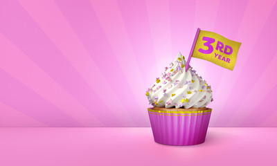 3D Rendering of Cupcake, 3rd Year Text on the Flag, Pink Paper Cupcake