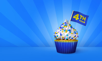 3D Rendering of Cupcake, 4th Year Text on the Flag, Blue Paper Cupcake