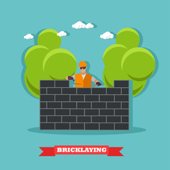 People build bricks wall. Construction site concept vector banner.