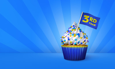 3D Rendering of Cupcake, 3rd Year Text on the Flag, Blue Paper Cupcake