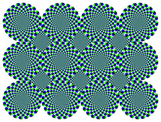 Rotating diamond wheels motion illusion. The wheels with blue and green diamonds seem to move clockwise when moving the eyes from one to another. Called peripheral drift or Fraser Wilcox illusion.