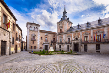 View of old Plaza de La Villa in the old town of Madrid, Spain