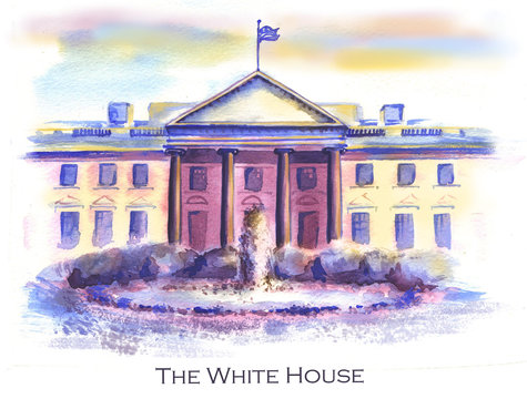 Hand-drawn watercolor drawing of the American landscape and famous building. Illustration of the White House in the USA