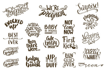 Pregnancy Announcements lettering collection