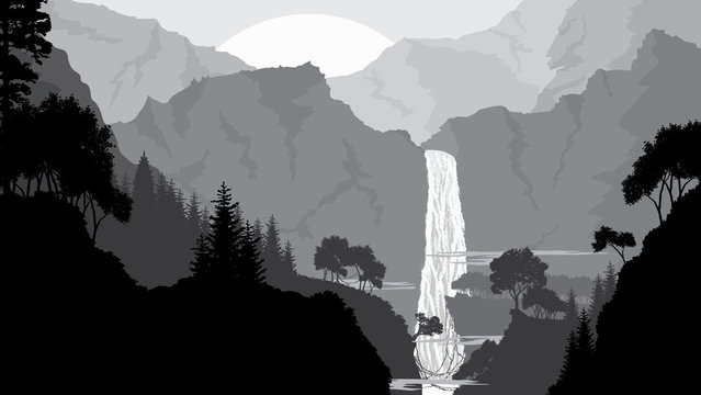 Mountain,waterfall and forest landscape, in gray colors, Flat landscape. Vector illustration.