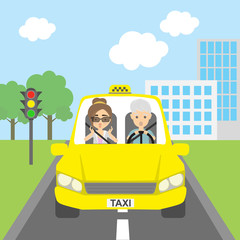 Taxi driver with passenger. Riding on the city street. Yellow car for urban service. Scared into grey hair male driver and female passenger.