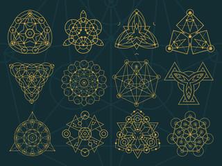 Wall Mural - Abstract Sacred Geometry and Magic Symbols Set 2