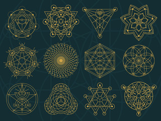 Abstract Sacred Geometry and Magic Symbols Set 3