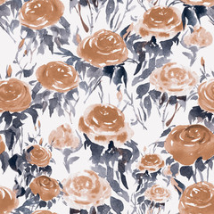 Hand-drawn watercolor seamless pattern with stylized china roses. Floral repeated background, excellent textile print