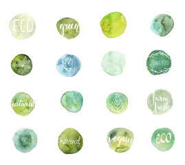 Set of hand drawn watercolor eco stains with hand-lettering text and floral elements. Template for design. Ecology labels.