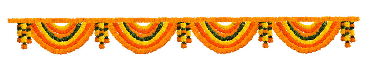 Indian festive decoration - photograph of garland of orange and yellow Marigold (Tagetes) flowers and green leaf arranged in alternate order, isolated over white background Wall mural