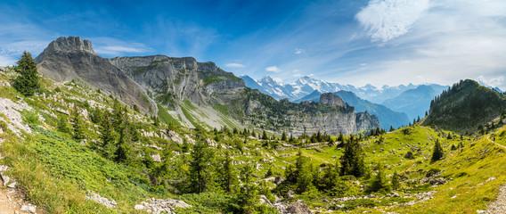 Panorama-Aufnahme mit Blick auf Eiger, Mönch und Jungfrau von der Schynige Platte