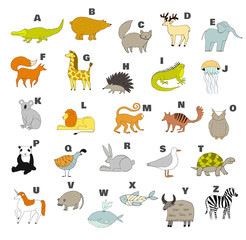 Cute vector zoo alphabet with cartoon animals. Isolated on white background. Zebra, whale, lion, fox, elephant, iguana, quail, turtle, yak, rat, unicorn, koala, bear, x-ray fish.