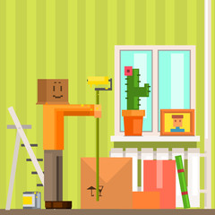 Man With Carton Box Mas Painting The Ceiling In New Apartement Pixelated Illustration
