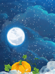 Cartoon happy scene with pumpkin on the some field by night - illustration for children
