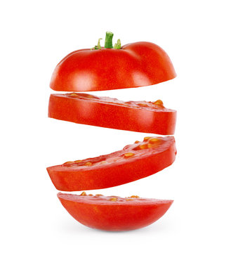 The sliced tomato isolated on white background