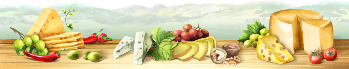 Panoramic image of cheese and grapes. Can be used for kitchen skinali. Watercolor