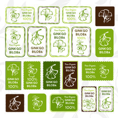 Ginkgo biloba. Stamps and stickers set