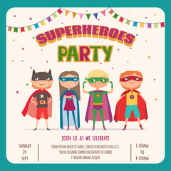 Superhero. Card invitation with group of cute kids