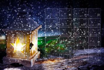 Adventskalender, Weihnachtskalender mit Laterne