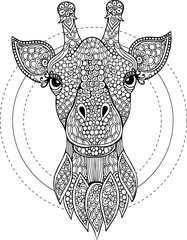 Hand drawn doodle giraffe head illustration for coloring book