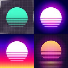 sunset illustration background set