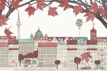 Berlin in autumn - hand drawn colorful illustration of the city with red maple branches