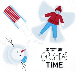 Christmas time snow angel