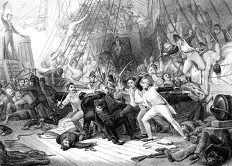 An engraved  illustration image of Nelson boarding the San Josef at the Battle of St Vincent from a vintage Victorian book dated 1886 that is no longer in copyright