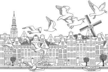 Amsterdam, Netherlands - hand drawn black and white cityscape with birds