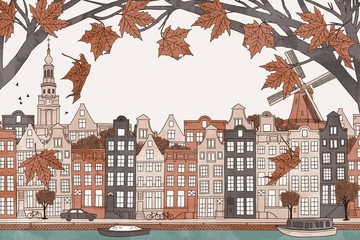 Amsterdam in autumn - hand drawn colorful illustration of the city with orange-brown maple branches