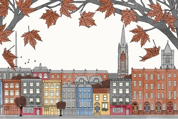 Dublin in autumn - hand drawn colorful illustration of the city with orange-brown maple branches