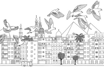 Cairo, Egypt - hand drawn black and white cityscape with birds