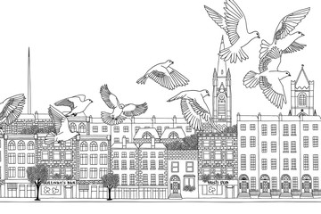 Dublin, Ireland - hand drawn black and white cityscape with birds