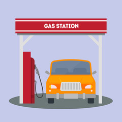 Car at a Gas Station. Vector