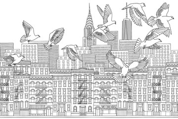 New York City - hand drawn black and white cityscape with birds