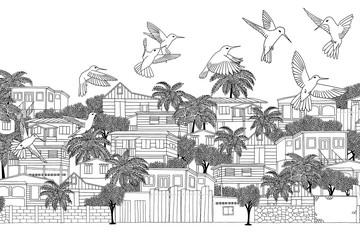 Trinidad & Tobago - hand drawn illustration of a Caribbean village with hummingbirds