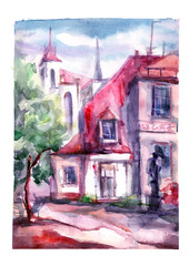 Watercolor painting - urban street, house, landscape.
