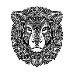 Ethnic ornamented lion. Hand drawn vector illustration with floral elements