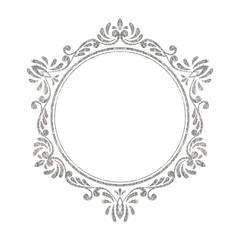 Elegant luxury vintage silver floral frame