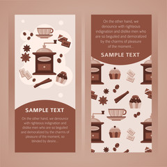 Collection of two vertical banners with coffee objects in brown color