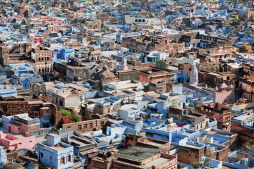 Buildings of historical city with colorful walls, India.